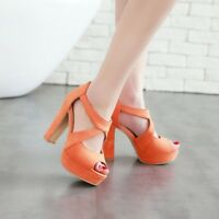 Womens Peep Toe Block Solid High Heels Ankle Strap Platform Party Shoes Back Zip