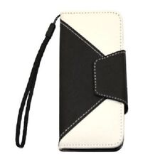 Black+white Flip Leather Wallet Card Holder Case Cover For iPhone 5 5S SE