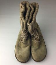 Womens EARTH SPIRIT Suede beige yeti boots fringe lace up SZ 7 US EUR 39