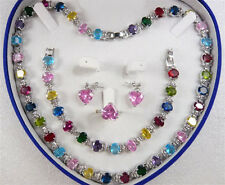 Multi-Color Cubic Zirconia Crystal 18Kwgp Ring Earrings Bracelet Necklace Set