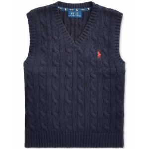 Polo Ralph Lauren Boys' Cable-Knit V-Neck Sweater Vest, Blue, Size L, $45, NwT