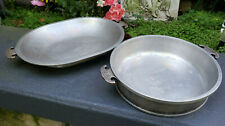 2 Guardian Cookware Hammered Aluminum Round Pan & Lid Serving Tray Vintage