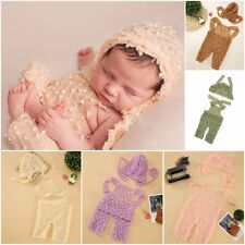 Newborn Popcorn Knit Romper & Hat SET Baby Photo Photography Prop Cloth Bodysuit