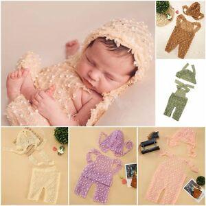 Newborn Popcorn Knit Romper & Hat SET Baby Photo Photography Prop Cloth Bodysuit