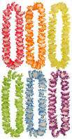 6 Brightly Coloured Flower Leis - 100cm -  Hawaiian Luau Tropical Garland Party