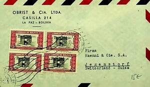 BOLIVIA 1948 POST WWII ARCHITECTURE S/C 4v ON AIRMAIL COVER TO SWITZERLAND