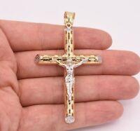 "3.25"" Huge Jesus Christ Crucifix Cross Pendant Charm Real 10K Yellow White Gold"