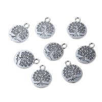 10x30x Vintage Silver Round Tree Of Life Charm Pendant Fit DIY Bracelet/Necklace