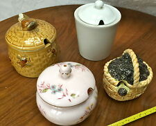 PRELOVED COLLECTION OF 4 HONEY/JAM/PRESERVE CONTAINERS/POTS - SECLA, TUSCAN, ETC