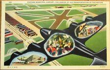 Chicago, IL 1940 Linen Aviation Postcard: Municipal Airport, Airplane