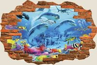 3D Hole in Wall Dolphins Under Sea View Wall Stickers Art Decal Wallpaper 1126