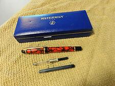 VTG WATERMAN BURNT ORANGE/BLACK CARTRIDGE, CONVERTOR FOUNTAIN PEN & BOX