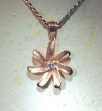 18MM 14K ROSE GOLD HAWAIIAN KIELE TAHITIAN TIARE GARDENIA FLOWER CZ PENDANT #M