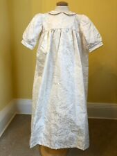 Ivory floral silk damask Christening Gown. Hand made original one off