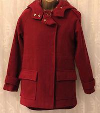 Asos Wine Red Funnel Neck Drop Shoulders Hooded Zip Patch Pockets Coat  8 36