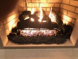 "Vented Gas Log 24"" Sierra Oak Propane with Remote Control"