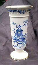 "Blue and White Delpht / Delft Style Vase Oriental Design Gilded Edging 6"" Tall"