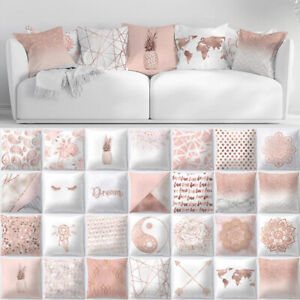 Pink Pillow Case Rose Gold Geometric Glitter Sofa Cushion Cover Floral Printed