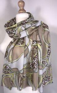Leopard Print & Chain Print Pashmina Scarf Oversized Soft Feel Multi Colours