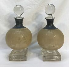 Pair Vintage Art Deco French Style Enamel Painted Glass Crystal Decanters