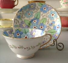 Vintage Tuscan Teacup with Graphic Blue Flowers