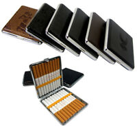PU Leather Metal Regular Cigarette Case Tin Holder Square Holds Up To 20pcs