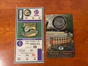 GREEN BAY PACKERS Rededication Lambeau Field Challenge Coin with Game Ticket