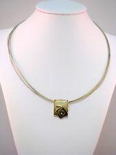 Franz Scheurle Draht Halskette Collier Silber 925 mit 14K 585 Gold Zirkonia