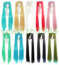 Good Quality 120 cm Long Vocaloid Hatsune Miku Straight 2 Ponytails Cosplay Wig