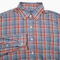 J Crew Blue Red Light Weight Chambray Button Up Plaid Shirt Men's Size Medium