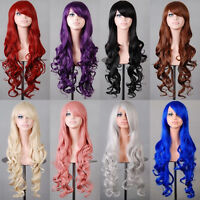 Womens 80cm Curly Full Wigs Smooth Anime Costume Cosplay Party Long Wavy Hair