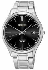 Seiko Quarz-(Batterie) Armbanduhren aus Edelstahl mit Saphirglas