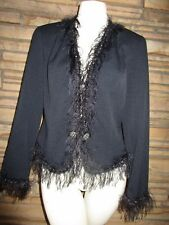 Double D Ranch Blazer Jacket Black Studs Conchos Ostrich Feather Trim sz S