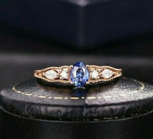 0.50ct Natural IGI Certificated Oval Tanzanite & Sim Diamond Wedding Ring Silver