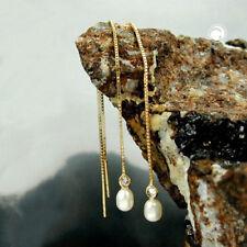 375 Gelbgold Durchzieher Venezianer 93mm Ohrringe Zuchtperle Zirkonia 9Kt GOLD