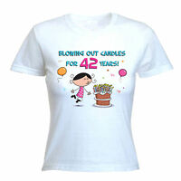 BLOWING OUT CANDLES FOR 42 YEARS 42nd BIRTHDAY T-SHIRT - Gift Present -Size S-XL