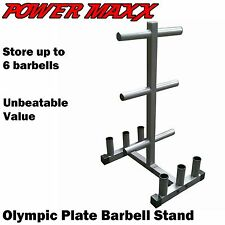 POWER MAXX Olympic Plate Barbell Stand Tree Rack Storage Holder Rack Weights Gym