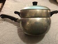 Vintage Wear Ever Hallite 2 1/2 Qt Pot Double Boiler 2302 Blue Aluminum w/ Lid