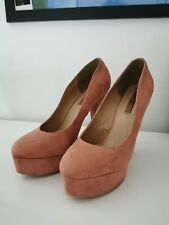 F&F Round Toe Chunky Platform Light Pink High Heels Uk Size 7 EU 41