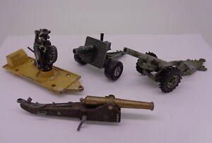 4X Vintage diecast gun artillery Britains Dinky Lonestar (Playworn with defects)