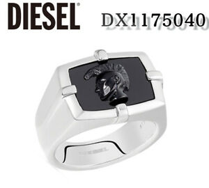 DIESEL MENS STAINLESS STEEL BLACK LOGO DX1175  SIZE 8