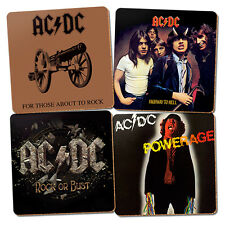 ACDC Cork Drink Coasters Set of 4 Album Cover Bar Christmas Fathers Day Gift