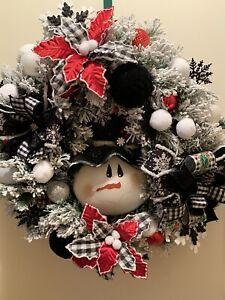 Flocked Pine Wreath With Snowman