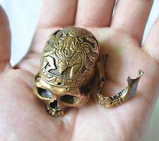 Fine Miniature MINI Bronze Cast Kapala Carved Human Skull Tibetan Buddhism D136