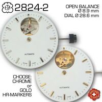 DIAL FOR MOVEMENT ETA 2824, OPEN HEART, Ø 28.6 mm, GOLD OR CHROME HR. MARKERS
