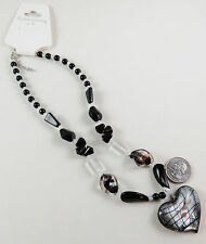 NWT Glass Heart, Black and Gold Lampwork Glass, Black and Clear Beads Necklace