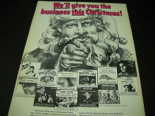 DAVID BOWIE Lou Reed BRIAN AUGER John Denver others 1973 XMAS Promo Display Ad
