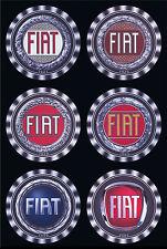 6 x FIAT CAR GRILL / BONNET BADGES LOGO EMBLEMS - 1921 to 2007 - DRINK COASTERS