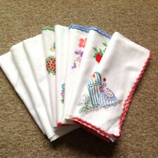 More details for collection of 8 hand embroidered vintage napkins old table wear fine needlework