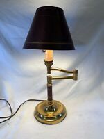 Swing arm Brass Table Lamp Desk office lamp Vintage brown trim c 513